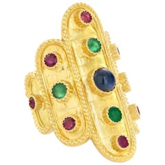 Lalaounis 18 Karat Yellow Gold Emerald, Ruby and Sapphire Ring