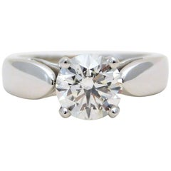 14 Karat Gold GIA Certified 1.28 Carat Round Brilliant Cut Diamond Ring