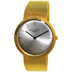 Patek Philippe Yellow Gold Ultra Thin Original Mesh Bracelet Manual Watch