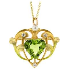 Larter & Alcox Art Nouveau Peridot Diamond Gold Pendant