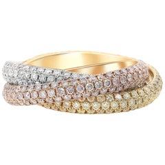 Fancy Pink, Yellow and White Diamond Tricolor Interlocking Bands, 18 Karat Gold