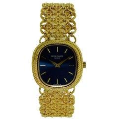 Patek Yellow Gold Ellipse Bracelet Watch circa 1980