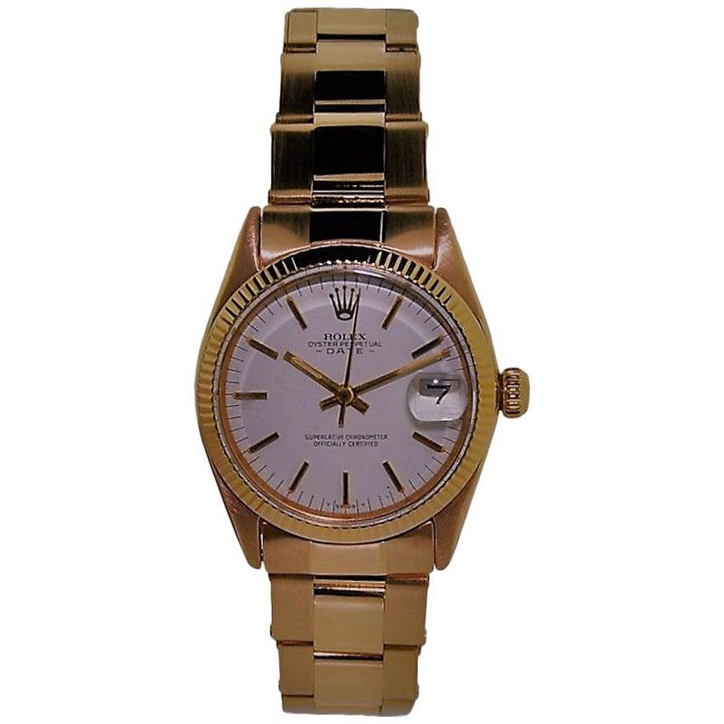 Rolex Rose Gold Oyster Perpetual Date Watch with Original Certificate
