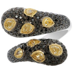 Black Diamond and Yellow Diamond Ring in White and Yellow Gold