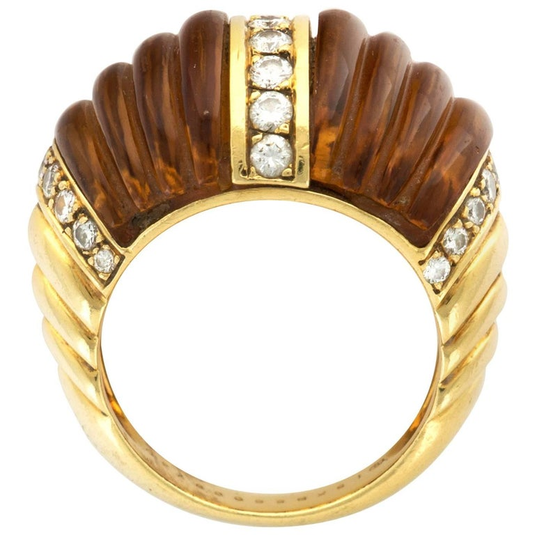 Van Cleef & Arpels  Citrine Diamond Gold Ring