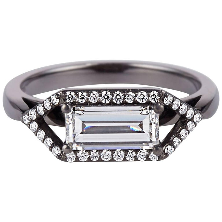 Cushla Whiting 'Zola' Emerald Cut 1.01 Carat Diamond Engagement Ring Set in Gold