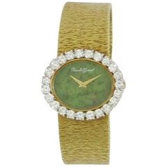 Bueche Girod Ladies yellow gold Diamond Bezel Jade Dial Wristwatch