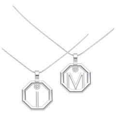 Lizunova Initial Diamond Pendant in 18 karat White Gold; Made to Order