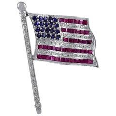 Large Gemset White Gold American Flag Pin