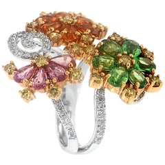 Zorab Creation Multicolored Diamond and Sapphire Cocktail Ring