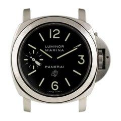 Panerai Stainless Steel Luminor Marina Black Logo Dial Manual Wristwatch
