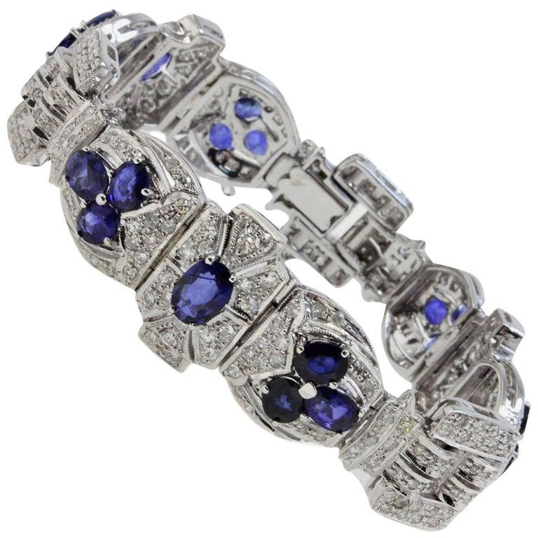 Diamonds Art Deco White Gold and Sapphires Bracelet For Sale