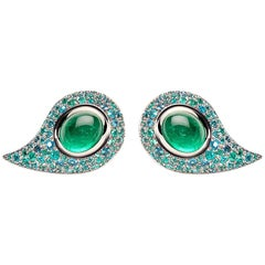 4.56 Carat Brazilian Paraiba Tourmaline Emeralds Studs