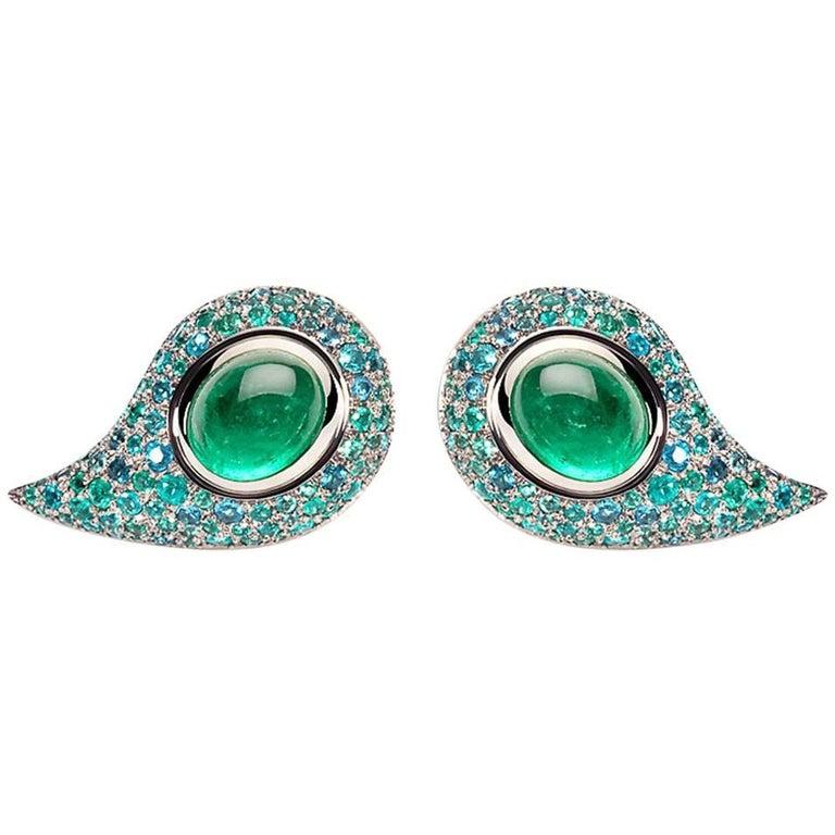 4.56 Carat Brazilian Paraiba Tourmaline Emeralds Studs For Sale