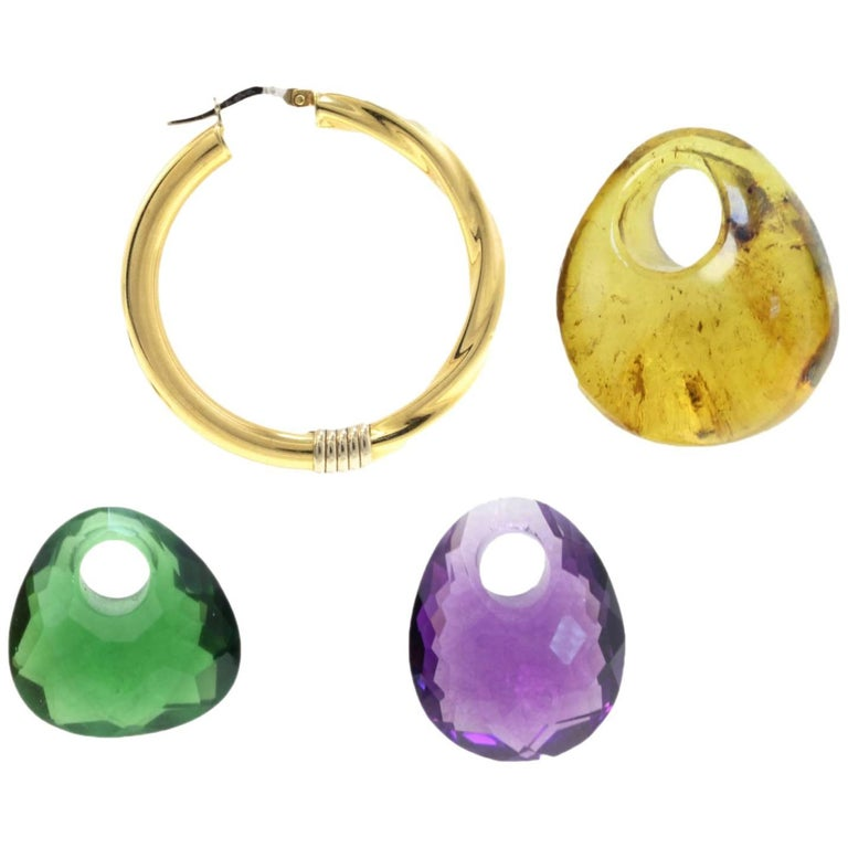 Yellow Gold, Green and Purple Quartz and Amber Hoop Earrings