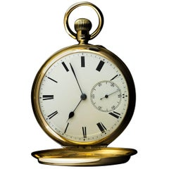 Yellow Gold White Enamel Roman Dial Pocket Watch
