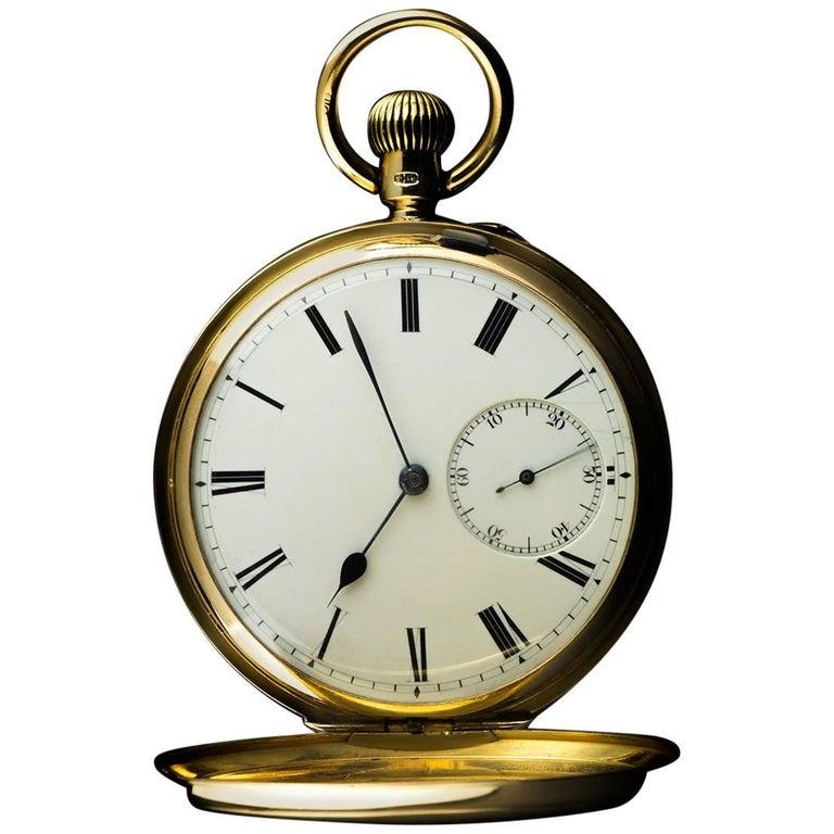 Yellow Gold White Enamel Roman Dial Pocket Watch For Sale