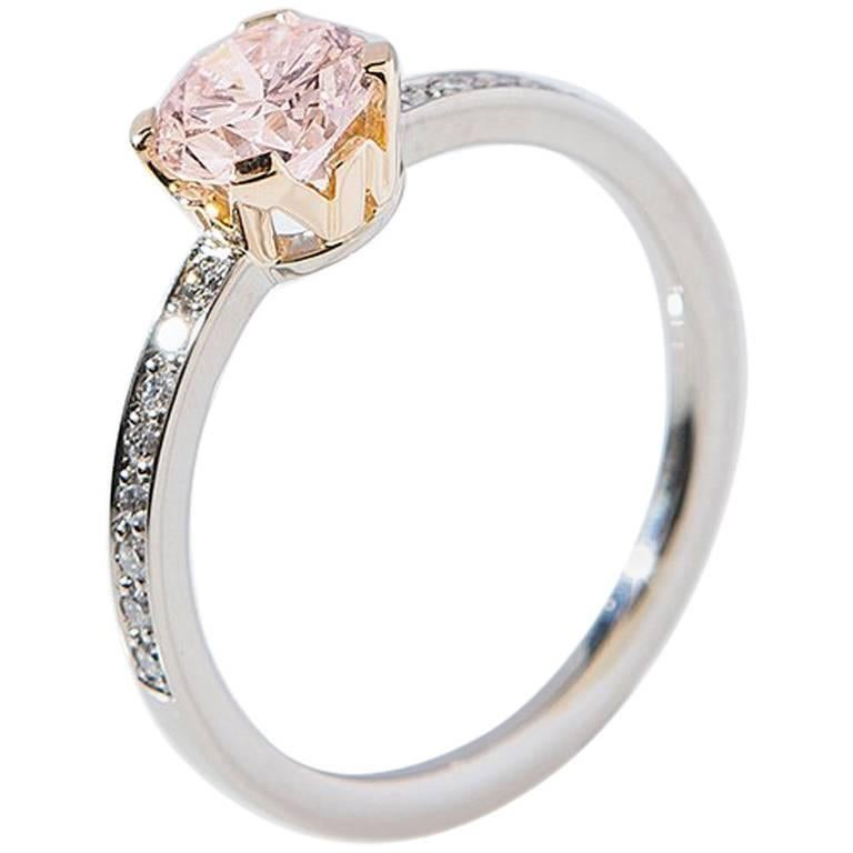 "Ring, White and Rose Gold, Natural Faint Pink Diamond ""Wagner Collection"" For Sale"