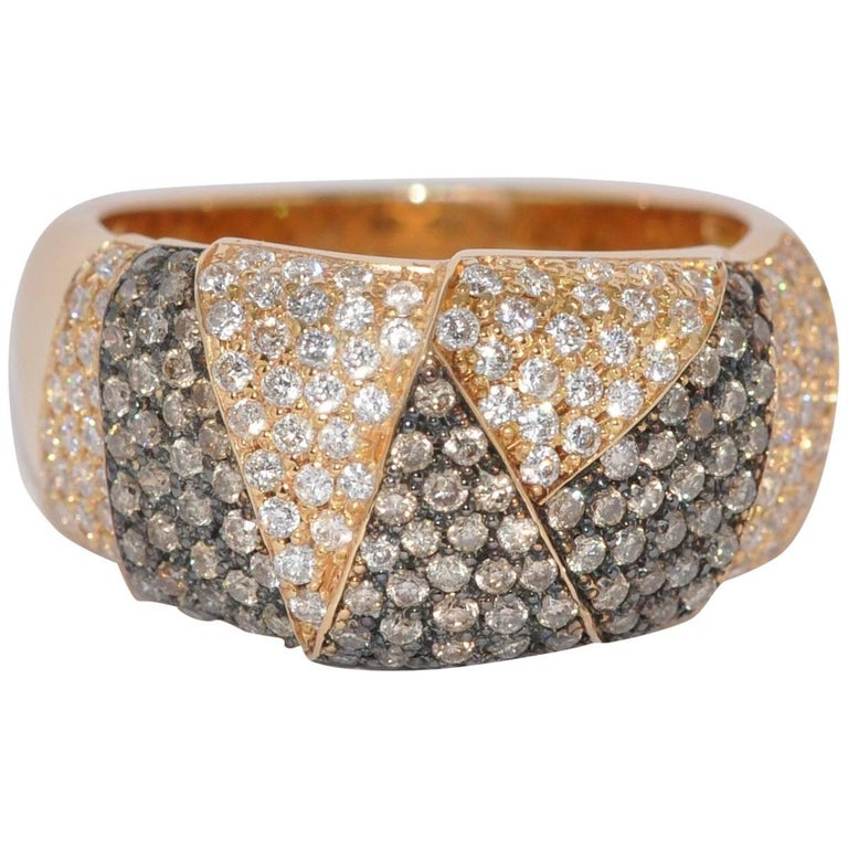 Brown and White Diamonds Rose Gold Drape Ring