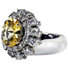 Oval Yellow Sapphire Diamond 18 Karat Gold Cocktail Ring