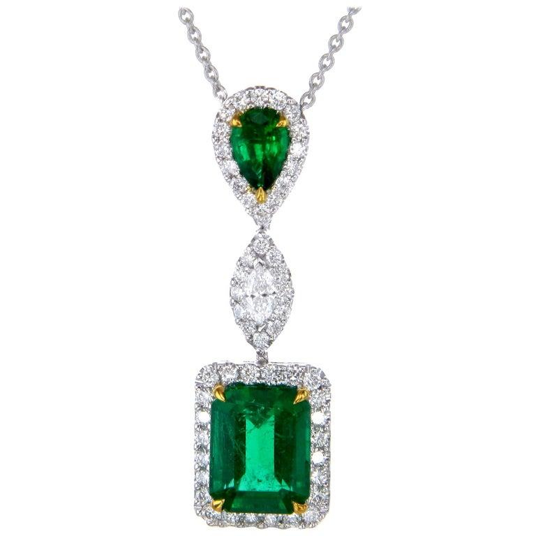Emerald Cut Emerald Diamond 18 Karat Gold Pendant Necklace