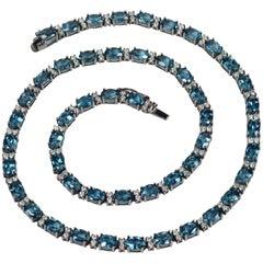 Blue Topaz White Diamond Black Gold Necklace