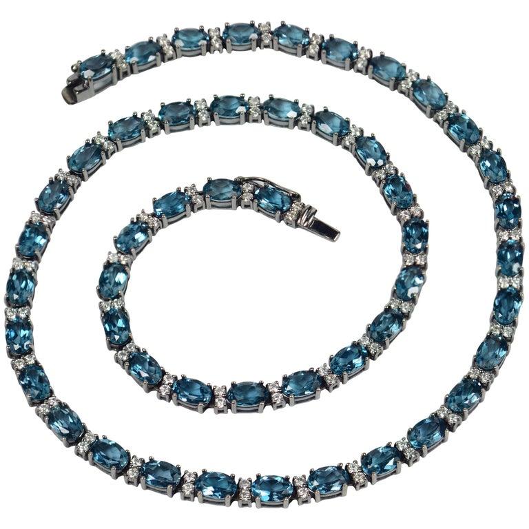 Blue Zircon White Diamond Black Gold Necklace