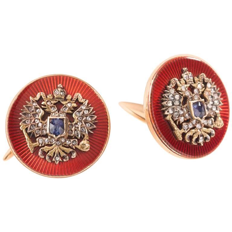 Russian Enamel Cufflinks, St. Petersburg, circa 1895, Gold, Sapphires, Diamonds 1