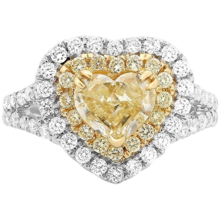 Heart Shaped Fancy Yellow Diamond Double Split Shank White Gold