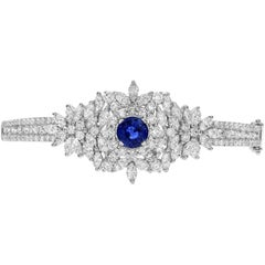 Blue Sapphire and Diamond White Gold Bangle