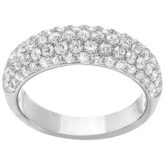 Five-Row Diamond Pave Ring in White Gold