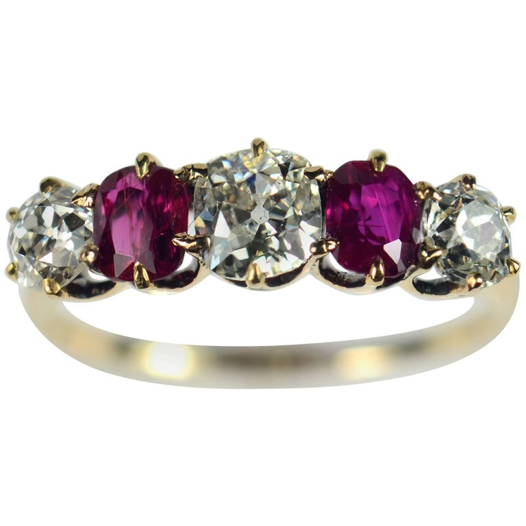 Edwardian Burmese Red Ruby White Diamond Five-Stone Engagement Ring For Sale