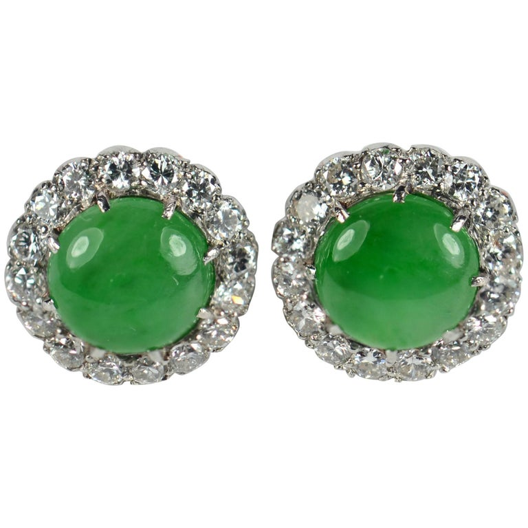 Untreated Green Jade White Diamond Cluster Stud Earrings