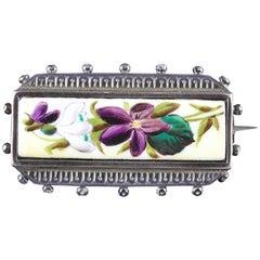Antique Victorian Suffragette Flower Locket Silver Brooch