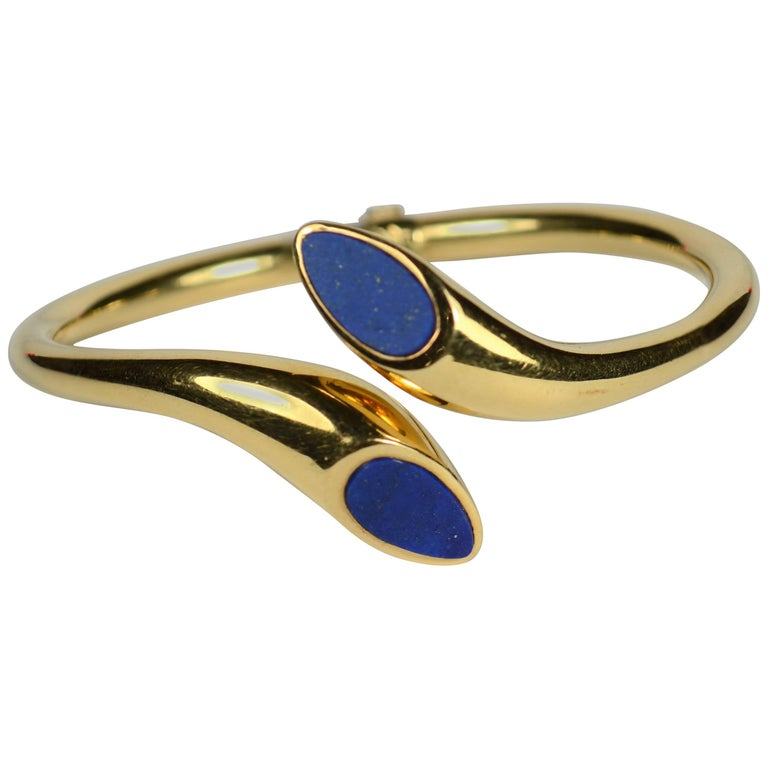 Blue Lapis Lazuli Gold Cuff Bangle Bracelet