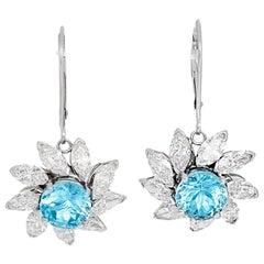 Stunning Aquamarine and Diamond Flower Dangle Earrings