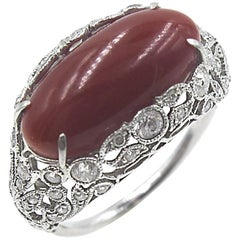 Coral Diamond Platinum Original Art Deco Ring