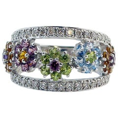 Multi Stone Dress Ring, Peridot, Topaz, Citrine, Amethyst, Diamond, 18 Carat
