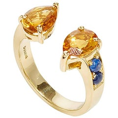 Dubini Theodora Citrine and Sapphire 18K Yellow Gold Ring