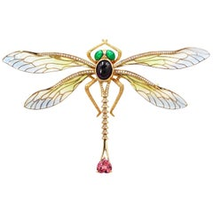 Modern Enamel Gem Dragonfly Brooch Pendant