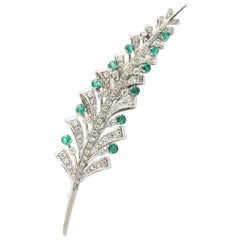 Spitzer & Fuhrmann Emerald and Diamond Spray Pin