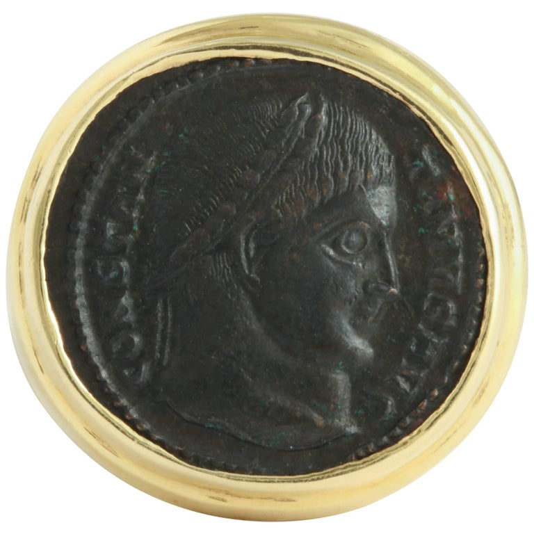 Bronze Head of Constantine 1, Mounted as a Ring For Sale