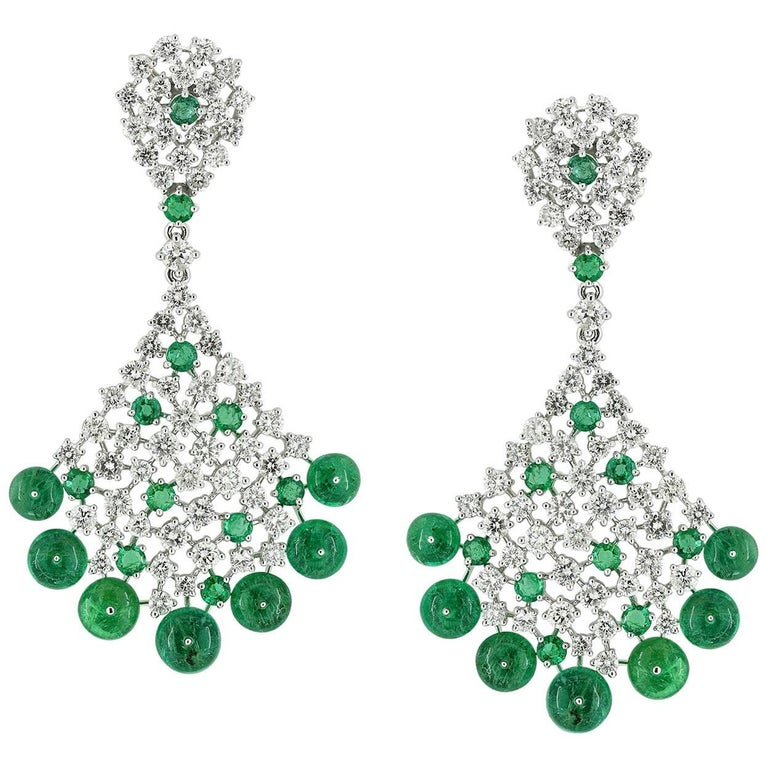 Emerald diamond chandelier earring for sale at 1stdibs emerald diamond chandelier earring 1 mozeypictures Choice Image
