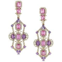 Purple and Pink Sapphire Diamond Hanging Earring