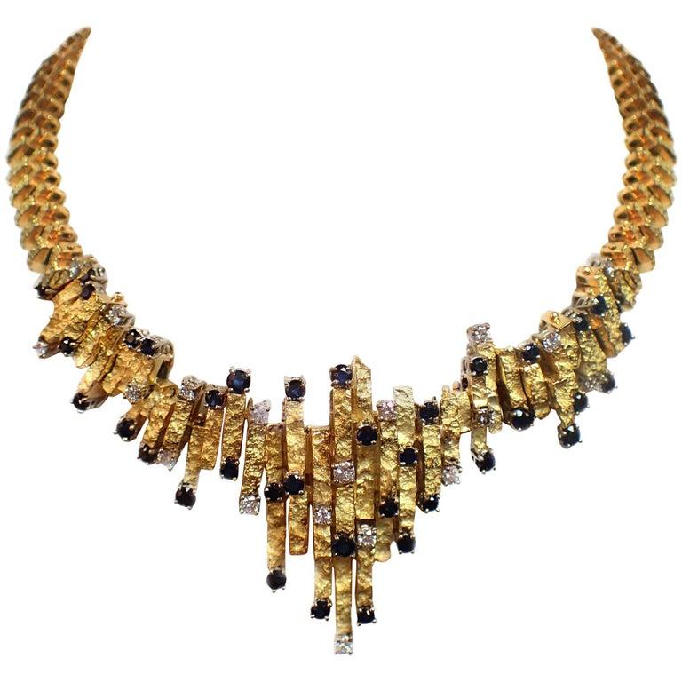 Italian 1960s Diamond and Sapphire Necklace