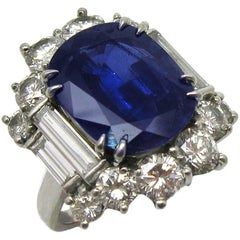 6.59 Carat Cushion Cut Blue Sapphire and Diamond Ring in Platinum
