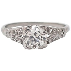 0.88 Carat Old Mine Cut Art Deco Platinum Engagement Ring