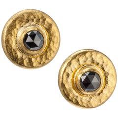 """Gurhan """"Droplet"""" Black Diamond Earrings in 24 Karat Yellow Gold"""