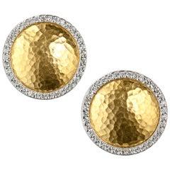 Gurhan Disc Diamond Earrings in 24 Karat Yellow and 18 Karat White Gold
