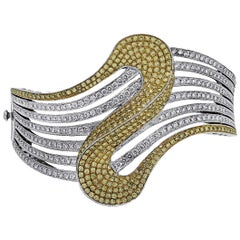 White and Yellow Diamond Wavy Bangle